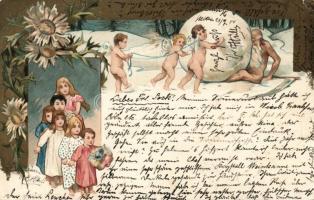 Children, angels, snowball, humourm flowers litho, Gyerekek, angyalok, hógolyó, humor, virágok litho