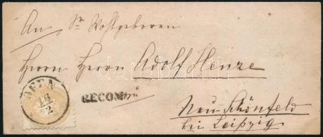 ~1865 15kr + 10kr on the back on registered cover to Germany, ~1865 Szakadtan felragasztott 15kr + a hátoldalon bontásnál eltépett 10kr ajánlott levélen a Lipcse melletti Neu-Schönfeldre
