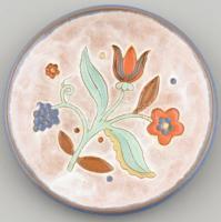 Gádor István (1891-1984): Virágos tálka, mázas kerámia, jelzett, hibátlan, m: 2 cm, d: 13 cm