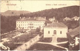 1913 Bártfa, Bardiov, Bardejov; Deák szálloda, fürdő. Somló Zoltán kiadása / hotel, spa, bath (lyuk / hole)