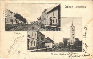 1912 Leibic, Leibitz, Lubica; Fő utca, templom, vendéglő és szálló, Demitter G. kiadása / main street, church, Hotel Adler (EK)