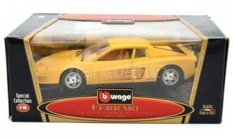 Burago Ferrari Testarossa 1984 gyűjtői automodell, sárga színben, 1:18 méretarány, bontatlan csomagolásban