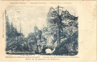 Dobsina, Dobschau; Sztracenai sziklakapu, faszállító lovaskocsi. Wlaszlovits Gusztáv 1049. / Sztraczeneer Felsentor / Stratena rock gate, timber transporting horse carts