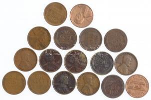Amerikai Egyesült Államok 1909-1961. 1c Lincoln (17db) T:2-3 USA 1909-1961. 1 Cent Lincoln (17pcs) C:XF-F