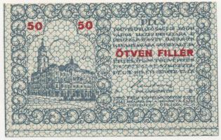 Pécs 1919. 50f Pécs Törvényhatósági Jogú Város Házipénztára pénztárjegye T:I-