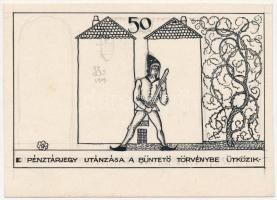 Pécs 1919. 50f Pécs Törvényhatósági Város pénztárjegye Szabó Loránd 1919-es hátlap-tervezete keménypapíron T:I-