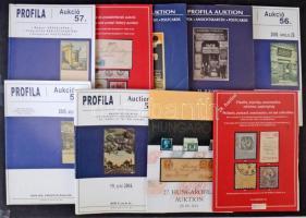 14 db klf árverési katalógus, néhol leütési árakkal, Filatélia, Postatörténet és képes levelezőlap témában, dobozban