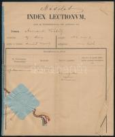 1864 Index Lectionum (egyetemi index), bejegyzésekkel, aláírásokkal, szárazpecséttel