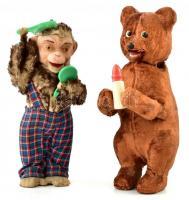 Két felhúzhatós játék figura.Medve és fésülködő majom Kulcsos szerkezet, működik, egy felhúzó kulccsal 21 cm, 23 cm
