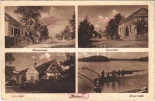 1947 Medve, Medvedov; Fő utca, üzletek, Duna részlet, halászok / main street, shops, Danube riverside, fishermen (gyűrődés / crease)