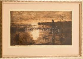 Csergezán Pál (1924-1996): Szepezdi part (Balatonszepezd, horgász), 1957. Rézkarc, papír, jelzett. Sérült. Üvegezett fa keretben, 21×37,5 cm