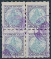 1921 Koronás Madonna 10000K négyestömb fővámhivatali bélyegzéssel