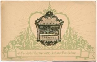 Eperjes, Presov; A Felvidék visszacsatolásának emlékére. Dombornyomott Szeiler Patent. A Felvidéki Egyetemi és Főiskolai Hallgatók Egyesülete kiadása / Embossed Art Nouveau s: Gát (EK)