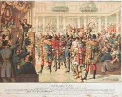 Megadjuk - Kossuth Lajos a Képviselőház ülésén 1848-ben . Dekoratív, részben színes litográfia, Böhm Pál festménye után kőre rajzolta Haske Ferencz, nyomtatta Grund Vilmos. Pesten, é. n. (1850-70 körül). Képméret: 42x55 cm Ritka kőnyomat! Üvegezett keretben.