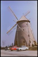 cca 1975 Szélmalmok az Alföldön, Magyar Alfréd budapesti fotóművésztől 3 db jelzés nélküli vintage fotó + 1 db vintage DIAPOZITÍV felvétel, 24x36 mm és 12x9 cm / windmills