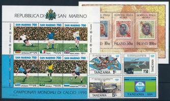 11 stamps + 6 blocks, Külföldi bélyegek vegyesen 2 stecklapon: 11 klf bélyeg és 6 klf blokk