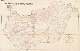 1956 Magyarország autóbusz hálózata (MÁVAUT), a hátoldalán Országos Takarékpénztár (OTP) takarékbetét-könyv reklámmal, szakadt, 42x66 cm