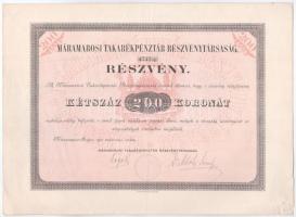 Máramarossziget 1910. Máramarosi Takarékpénztár Részvénytársaság részvénye 200K-ról, szelvényekkel, szárazpecséttel T:II- kis szakadások