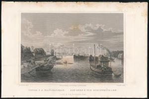 cca 1840 Ludwig Rohbock (1820-1883) - J. Umbach: Óbuda s a hajómalmak, acélmetszet, 14×18 cm