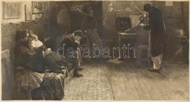 Lionelli Balestrieri (1872-1958) festménye után metszette W. Leo Arndt (1857-1945) 1901-ben: Beethoven. Rézkarc, papír, jelzett a rézkarc alatt nyomtatva. Üvegezett, kissé sérült antik fa fa keretben, 21×45 cm