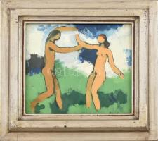 B. Séday Mária (1925-2009): Férfi és Nő II. Olaj, farost, jelzett. Hátoldalán autográf felirattal. Kissé kopott, üvegezett fa keretben. 20×23 cm