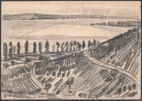 Batári László (1920-1997): Szigligeti táj. Szén, papír, jelzett. Lap szélén apró szakadásokkal. 21,5×30,5 cm