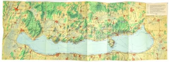 1965 Balaton térkép, 1:95.000, Bp., Kartogrfia-ny., 32x95 cm
