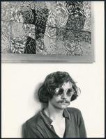 cca 1975 G. Gy. festőművész portréja, Magyar Alfréd budapesti fotóművész feliratozott vintage fotója, 24x18 cm