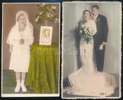 1936 Színezett műtermi fotók, 2 db vintage fotó, 13,2x8,2 cm