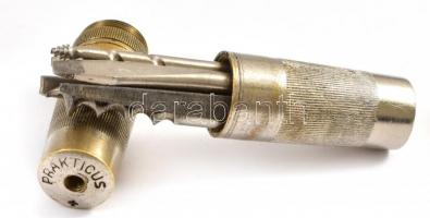 cca 1920-30 Cserkész Prakticus szerszám, 6 klf. fejjel (csavarhúzó, reszelő, dugóhúzó stb.), menet mentén szétcsavarozható, német gyártmány (D.R.P. jelzéssel) h: 8 cm,