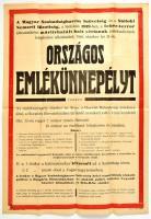 1948 Magyar Szabadságharcos Szövetség és a Siófoki Nemzeti Bizottság plakátja országos emlékünnepélyről, fehér-terror áldozatainak avatott emlékmű leleplezése alkalmából, Balaton-nyomda, Siófok, hajtásnyomokkal, 59x41,5 cm