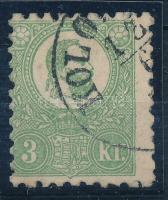 1871 Kőnyomat 3kr elfogazott bélyeg enyhe elvékonyodással, egyébként szép állapotban (140.000) nice stamp, thin paper. Sign: Georg Bühler