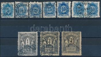 1873 Távírda Kőnyomat teljes sor, benne 50kr párban + 2Ft 2 példányban, a forintos értékek különböző érvénytelenítésekkel, összesen 10 db bélyeg (122.000)