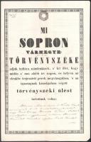 1850 Sopron vármegye törvényszéke által írt jegyzőkönyv, magyar és német nyelven, felzetes viaszpecséttel