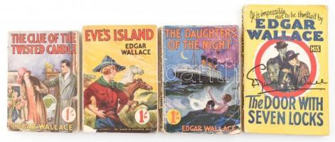 Edgar Wallace 4 könyve:  The door with seven locks, The daughters of the night, Eves Island, The clue of the twisted candle. London, én., Georges Newnes-Hooder&Stoughton. Angol nyelven. Kiadói papírkötések, szakadozott borítókkal.