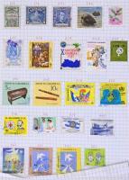 Mongólia bélyegek füzetlapokra falccal felragasztva + egyéb országok: El Salvador, Szingapúr, Mexikó stb.