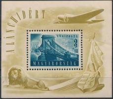1948 Lánchíd (II.) blokk keresztben végigfutó papírránccal (30.000)