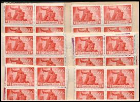 1945/1946 Újjáépítés 24 db sor négyes tömb összefüggésekben berakólapon (rozsdafoltok,elvált fogak pár értéken/stains and some stamp has aparted perfs.)(14.400)