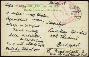 1917 Szófiai képeslap az osztrák-magyar katonai attasétól német tábori posta bélyegzéssel + a szófiai osztrák-magyar HUGHES távíróállomás bélyegzőjével Budapestre