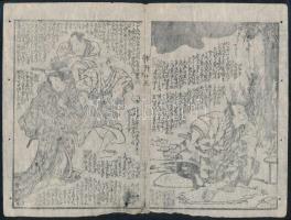5 db kétolalas japán fametszet illusztráció / 5 Japanese double faced woodblocks prints: 21x17 cm