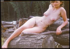 cca 1973 A favágó leánya, Czakó László (?-?) pécsi fotóművész hagyatékából vintage DIAPOZITÍV felvétel, 24x36 mm