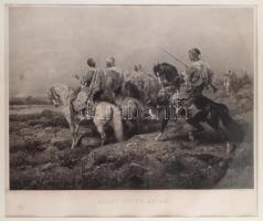 Adolf Schreyer (1828-1899) festménye után: Arab előörs (Avant poste arabe), 1880. Photogravűr, papír. Jelzett a metszet alatt nyomtatva. Goupil & Cie kiadása. Lap kissé foltos. Üvegezett fa keretben. 60×71 cm / After a painting by Adolf Schreyer (1828-1899): Arab outpost (Avant poste arabe), 1880. Photogravure on paper, spotty. Framed with glass. 60×71 cm