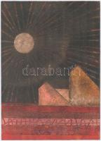 Bak Judit (?-): Lélekházak, falu szélén. Olaj, papír. Hátoldalán jelzett és autográf felirattal. 35x25 cm