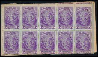 SEGÉLYBÉLYEGEK 1915. 2 klf. teljes Hadsegélyező Hivatali bélyegfüzet 100-100 db 1f ill. 2f névértékű bélyeggel, horvát nyelvű borítókkal