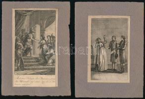 cca 1800 4 db régi metszet, papír, feltehetően illusztrációk Michel Eyquem de Montaigne Gedanken und Meinungen über allerley Gegenstände c. könyvéből. Részben foltos, körbevágva. 3 db papírra v. vékony kartonra kasírozva. 12,5x7 és 13x8 cm közötti méretben.