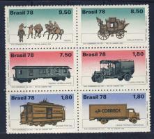 Development of the post block of 6, A posta fejlődése hatostömb, Entwicklung der Postbeförderung Sechserblock
