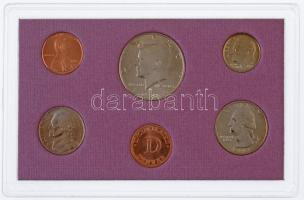 Amerikai Egyesült Államok 1993D 1c-1/2$ (5xklf) forgalmi sor dísztokban + pénzverdei zseton T:BU USA 1993D 1 Cent - 1/2 Dollar (5xdiff) coin set in case + mint token C:BU
