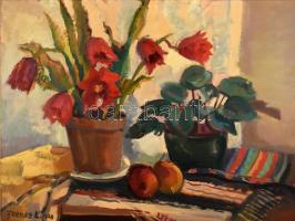Farkas Lajos (1919-1998): Kaktuszvirág, 1978. Olaj, farost. Jelzett. Hátoldalán autográf felirattal. Kissé sérült fa keretben. 60x80 cm