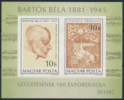 1981 Bartók Béla vágott blokk (ívszéli ránc/creased corner) (4.500)