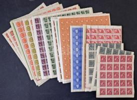 53 db Háború előtti és inflációs teljes ív, lemezhibákra, tévnyomatok átnézetlen, mappában